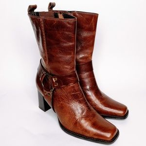 Bass Karmin Brown Leather Ankle Harness Boots